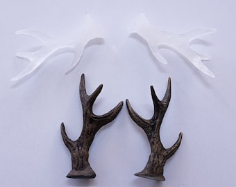 Small Faux Deer Antlers - Faux Taxidermy White Antler Decor - White Resin Unique Deer Antlers DO IT YOURSELF