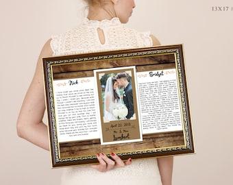 Wedding Vows Framed, 1st Anniversary Gift, First Anniversary, Wedding Song, Gift For Him, Vow Renewal, Frames