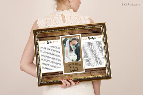 Wedding vows framed 1st anniversary gift first anniversary