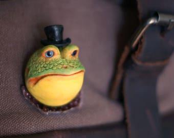 Brooch  frog, 3D polymer clay art, Frog, Little green frog