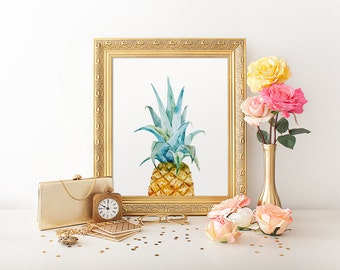 Watercolor Print, Pineapple, Print Art, Pineapple, Kitchen Wall Decor, Print Pineapple, Tropical Print, Canvas Pictures, Summer Prints