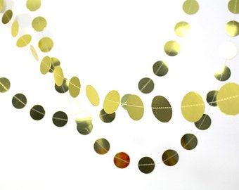 Gold circle garland, metallic gold confetti banner, gold wedding backdrop, bridal shower gold dot garland, photo booth prop