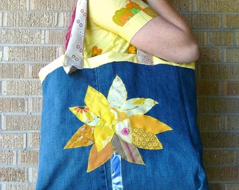 Upcycled Tote or Market Bag Summer Yellow Tree