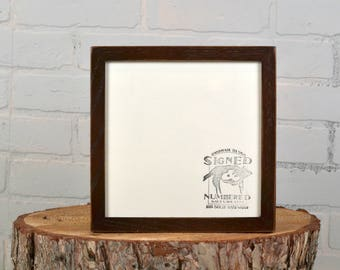 8x8 Square Picture Frame with Vintage Dark Wood Tone Finish in Peewee Style - IN STOCK - Same Day Shipping - 8 x 8 Thin Wood Photo Frame