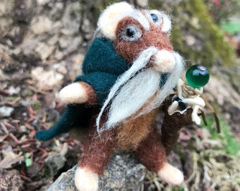 Mouse Wizard Felted Figurine