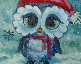 Original oil painting Christmas Gift Owl Painting Wall decor Miniature Gift for her Birthday gift