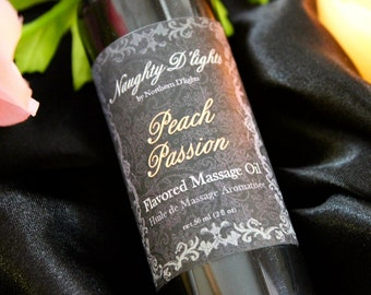 Sensual Massage Oil - Peach Flavored Body Oil - Natural Massage Oil -  Romantic Massage Oil