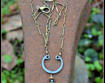 Vintage Teardrop Locket Necklace with Black Spinel Bead Brass and Steel Assemblage