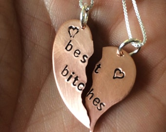Stamped Copper Best Bitches Necklaces