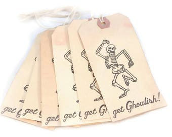 Halloween Tags,  Dancing Skeleton, Get Ghoulish, Hang Tags, Tea Stained, Halloween Decoration, Halloween Party, Favor Tags, Grungy Tags