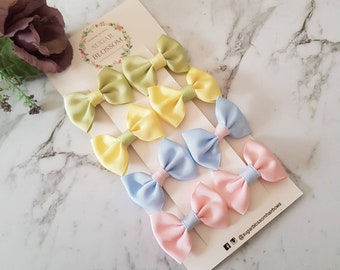 Set of 4 pairs pigtail bow hair clips - hair accessories - baby hair clips - girls hair clips - handmade by sugrblossom