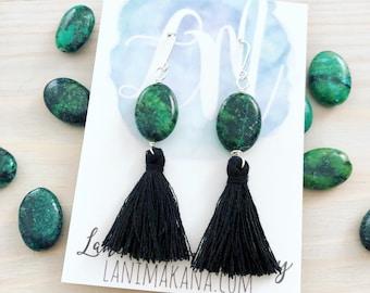 Stone Tassel Earrings - Tassel Statement Earrings - Boho Tassel Earrings - Boho Stone Earrings - Ocean Jasper - Beach Boho Jewelry