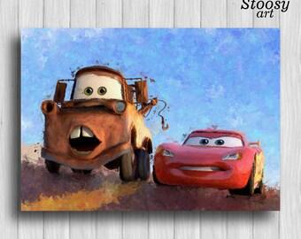 Lightning Mcqueen and Tow Mater poster disney cars print kids watercolor disney art
