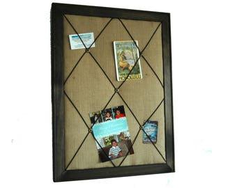 Framed Burlap French Memo Board