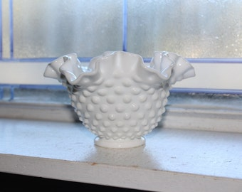 Vintage Milk Glass Hobnail Vase with Ruffled Rim