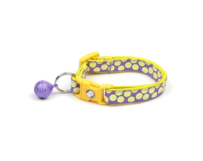 Tennis Cat Collar - Tennis Balls on Purple - Small Cat / Kitten Size or Large Size