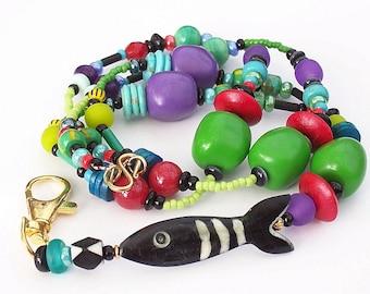 GONE FISHING, ID Lanyard, Fun, Colourful, Badge /  Holder, Australian Made
