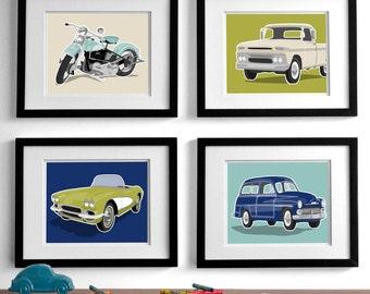 vintage transportation wall art prints - set of 4 childrens art prints - retro rides nursery art prints for boys