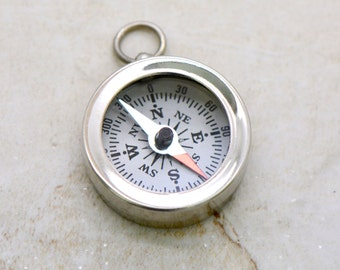 1 - Mini Compass Pendant Charm SILVER with White Face REALLY WORKS Silver Brass Compass Charm Vintage Style Jewelry Supplies (BA075)