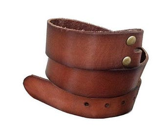 Vintage Style Brown Premium Leather Snap Belt Strap - Distressed Cow Hide - Genuine - Cool Gift Ideas - Mothers Day Gift Idea