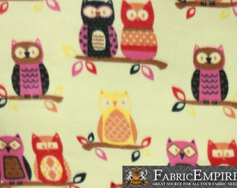 """Fleece Printed Fabric COUPLE OWLS YELLOW / 58"""" Wide / Sold by the yard / N-1993"""