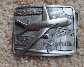 Collectible Airplane Buckle, Boeing 767 Belt Buckle, Airplane Buckle, Pewter Buckle, Aircraft Buckle