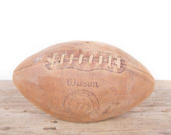 Vintage Leather Football / Football Decor / Old Football / Wilson Leather Antique Football / NFL College Football / Game Room Sports Room