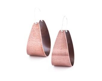 """Modern copper earrings with silver earwires in a fashionable arc shape that swing lightly in a fun way - """"Copper Scoop Earrings"""""""