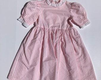 1980's Pink Stripe Dress (Kids 8/10)