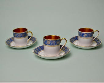 Vtg Set of 3 Bohemia Czechoslovakia China Demitasse Cup Tea Coffee Espresso Saucers Blue Gold White