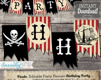Pirate Party Banner Boys Birthday / INSTANT DOWNLOAD / Editable & Printable / Party Decorations / Decor / Bunting / Baby Shower