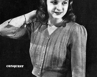 1940s Knitted Feminine Battle Jacket Style Blouse-  PDF Pattern Download