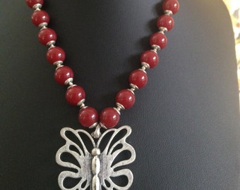 Vintage Butterfly Necklace, Red & Silver Bead Necklace