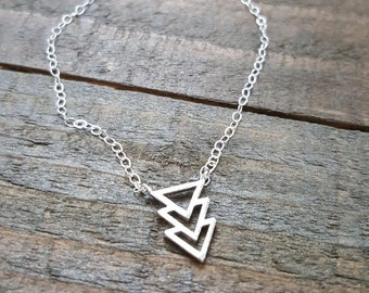 Triangle Necklace, Triple Triangle Necklace, Chevron Silver Necklace, Sterling Silver Necklace