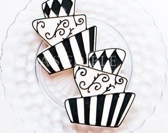 Black and White Topsy Turvy Cookies 1 Dozen (12)