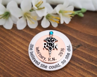 RN Nursing Pin For Nurse Graduation   RN Pin Gift For Nurse Graduate   Two Toned Nurse Pin   Copper and Silver RN Nurse Pin Pinning Ceremony