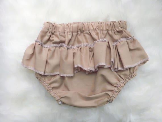 Tan Baby Girl Organic Bloomers, Ruffled Diaper Cover, Toddler Bloomer Shorts, Nappy Cover, Boho Bloomers, Winter Baby Clothing, Prop