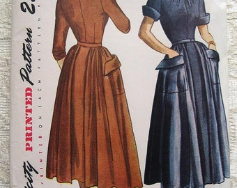 """Vintage 50s Tailored Day Dress, Detachable Skirt Panels. Simplicity 3009 Sewing Pattern. Size 12 Bust 30"""""""