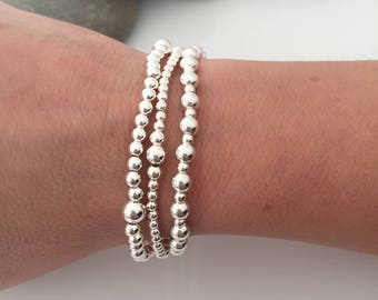 Silver stacking bracelets. Set of 3 beaded bracelets. Sterling silver beaded stretch bracelets. Sterling silver stacking bracelets.