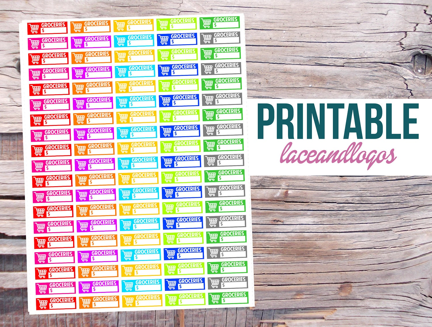 printable planner stickers grocery shopping budget labels