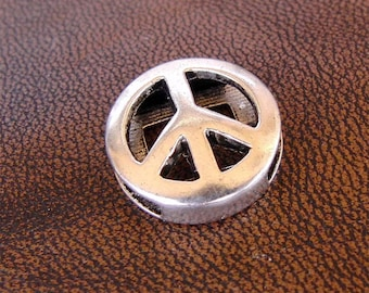 7 beads for flat leather or cord, Peace - peace, antique silver metal