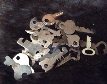 Vintage Flat Keys - divination, curio, good luck, opportinuty; altered art, mixed media. steampunk, industrial