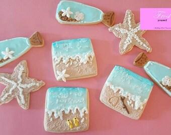 Ocean Beach Decorated Iced Cookies Sugar Summer~1 Dozen~Frost Yourself Cookies