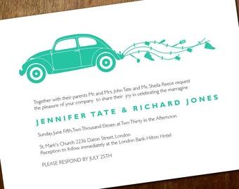 Printable Wedding Invitations - VW Beetle - Volkswagen Bug - Just Married Wedding Invitations - Teal Wedding Invites - Instant Download  PDF