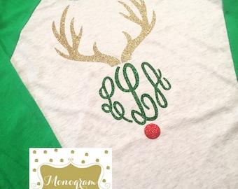 Monogram Reindeer Shirt - Monogram Christmas Shirt - Rudolph Shirt - Raglan Tee - Monogram Raglan - Monogram Layne