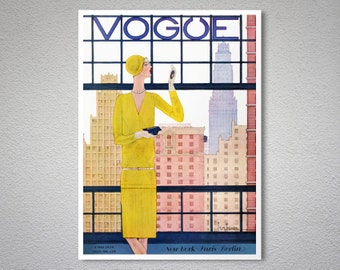 Vogue Cover Mai 9, 1928 Vintage Vogue Poster - Poster Print, Sticker or Canvas Print / Gift Idea