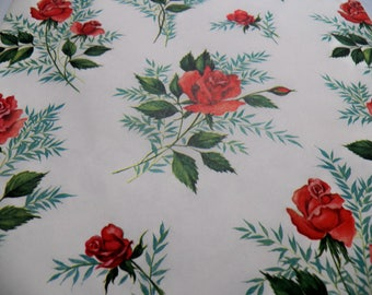 Vintage Wrapping Paper, Vintage Gift Wrap, Red Roses Gift Wrap, one sheet 25X19 inches, Birthday Mothers Day gift Wrap,  Gift Wrap, Floral