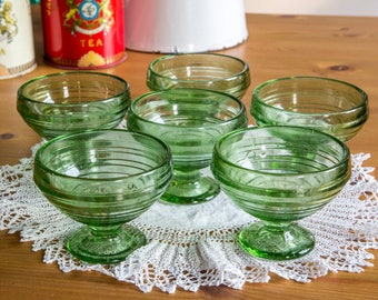 Set of 6 small retro green glass dessert dishes