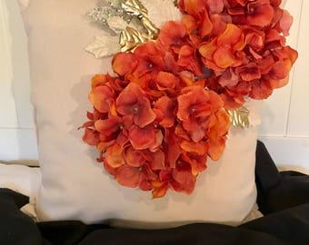 Orange hydrangea silk flower Fall 2017 Decrotive Pillow throw pillows hydrangea throw pillows Orange hydrangea throw pillows