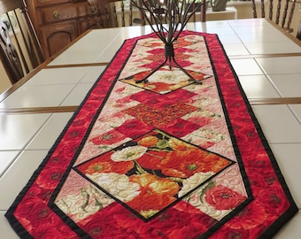 Quilted Floral Table Runner Poppies red orange black cream